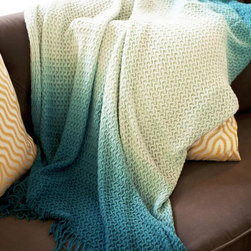 Woven Workz - Diane Teal Knitted Throw - Take this stylish throw to the bed, couch, porch - anywhere you want to kick back and relax. Its irresistable texture will add definition to any room. Tie-dyed, lightweight, knitted throw in gradient colors.