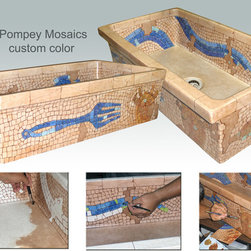 """Custom Designs - """"Pompey Mosaics"""" Painted on AP-1806 using colors provided by customer to match her existing counter top and tiles."""