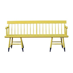"Yellow Windsor Style Bench - This bright and cheerful Windsor-style bench will fit the whole family! This bench is solidly constructed and would look great either indoors or out on your covered patio. It's navy-dipped legs add a touch of whimsy to this piece.   Seat height measures 18"".  Arm height measures 28""."