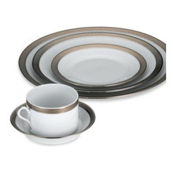 Richard Ginori - Impero Platinum 5-Piece Place Setting - A pattern fit for royalty, Richard Ginori's Impero Platinum china makes a regal statement on any dining table. Crisp white is beautifully set off by platinum accents and a silver border featuring an ornate design.