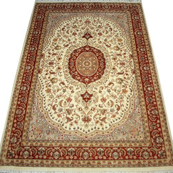 "ALRUG - Handmade Beige Persian Kirman Rug 4' 1"" x 6' (ft) - This Pakistani Kirman design rug is hand-knotted with Wool on Cotton."