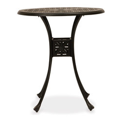 Thos. Baker - Hedges Outdoor Pub Table - Our hand-cast aluminum hedges collection recreates the look of classic English cast iron without the weight. Black powder-coated enamel provides a rust-free, UV-resistant finish that is extremely durable. Chair and sofa backs feature a Union Jack criss-cross motif with a center medallion.  This British flag pattern is repeated in all the table tops.Quick ship cushions available in Sunbrella gingko or dupione bamboo or choose from made-to-order Sunbrella and other premium performance fabrics.Signature or premium cushion sales are final and ship in 2-3 weeks.