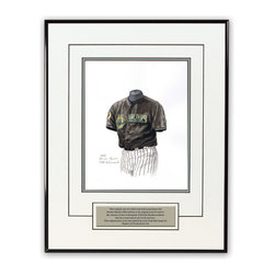 "Heritage Sports Art - Original art of the MLB 2003 Florida Marlins uniform - This beautifully framed piece features an original piece of watercolor artwork glass-framed in a timeless thin black metal frame with a double mat. The outer dimensions of the framed piece are approximately 13.5"" wide x 17.5"" high, although the exact size will vary according to the size of the original piece of art. At the core of the framed piece is the actual piece of original artwork as painted by the artist on textured 100% rag, water-marked watercolor paper. In many cases the original artwork has handwritten notes in pencil from the artist. Simply put, this is beautiful, one-of-a-kind artwork. The outer mat is a clean white, textured acid-free mat with an inset decorative black v-groove, while the inner mat is a complimentary colored acid-free mat reflecting one of the team's primary colors. The image of this framed piece shows the mat color that we use (Silver). Beneath the artwork is a silver plate with black text describing the original artwork. The text for this piece will read: This original, one-of-a-kind watercolor painting of the 2003 Florida Marlins uniform is the original artwork that was used in the creation of thousands of Florida Marlins products that have been sold across North America. This original piece of art was painted by artist Nola McConnan for Maple Leaf Productions Ltd. 2003 was a World Series winning season for the Florida Marlins. The piece is framed with an extremely high quality framing glass. We have used this glass style for many years with excellent results. We package every piece very carefully in a double layer of bubble wrap and a rigid double-wall cardboard package to avoid breakage at any point during the shipping process, but if damage does occur, we will gladly repair, replace or refund. Please note that all of our products come with a 90 day 100% satisfaction guarantee. If you have any questions, at any time, about the actual artwork or about any of the artist's handwritten notes on the artwork, I would love to tell you about them. After placing your order, please click the ""Contact Seller"" button to message me and I will tell you everything I can about your original piece of art. The artists and I spent well over ten years of our lives creating these pieces of original artwork, and in many cases there are stories I can tell you about your actual piece of artwork that might add an extra element of interest in your one-of-a-kind purchase. Please note that all reproduction rights for this original work are retained in perpetuity by Major League Baseball unless specifically stated otherwise in writing by MLB. For further information, please contact Heritage Sports Art at questions@heritagesportsart.com ."