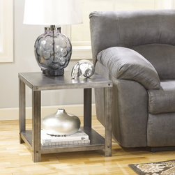 Signature Design by Ashley - Signature Design by Ashley Hattney Metal Square End Table - Cuddle up on your couch next to this sleek,metal Hattney end table. Crafted of sheet and tubular metal,this square end table features a lower shelf while equipped with locking wheels for greater mobility.