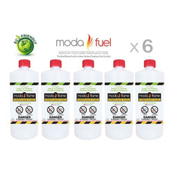 Moda Flame - Moda Flame 1 Quart Bio Ethanol Fireplace Fuel (6 Bottles) - Enjoy Moda Flame unique bio ethanol fuel developed completely from renewable resources. Moda Flame Bio Ethanol Fireplace Fuel is proudly made in the USA. This fuel is clean burning and designed for ventless fireplaces. It is vent-free, non-toxic, smokeless, odorless and environmentally friendly fireplace fuel. This fuel burns clean, producing  CO2 and steam in similar proportions as that exhaled by humans. Moda Flame Fuel is rigorously consistently tested to ensure that air quality complies with the strict international government regulations.