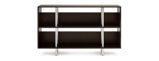 "Blu Dot - ""Blu Dot Chicago Lowboy, Graphite on Oak"" - ""Sometimes, good design is about what's not there. The Chicago series takes advantage of negative space, creating smart, elegant storage. The Lowboy dazzles with two large storage shelves and powder-coated tubular steel legs. Available in maple, graphite-on-oak and cherry."""