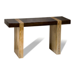 Kathy Kuo Home - Berkeley Chunky Wood Modern Rustic Console Sofa Table - There is elegance in brevity, as this spare, Zen minimalist console table proves.  Crafted from contrasting tropical woods and hewn into a contemporary line, the subtlety and skill inherent in this piece walks the line between Scandinavian modern and traditional Japanese carpentry with style and grace.