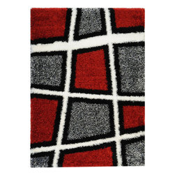 None - Contemporary Geometric Super Soft Shag Red/ Grey Area Rug (6'7 x 9'3) - This gray area rug gives any room in your home a more comfortable look. Its geometric pattern consists of red and gray alternating squares that will tie your room together. The polypropylene construction is tough and can stand up to exposure.