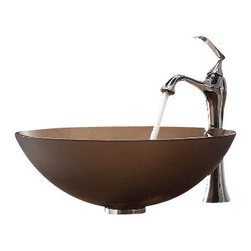 Kraus - Kraus Frosted Brown Glass Vessel Sink and Ventus Faucet Chrome - *Add a touch of elegance to your bathroom with a glass sink combo from Kraus