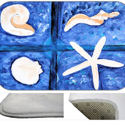 Sea Shore Plush Bath Mat, 30X20 - Bath mats from my original art and designs. Super soft plush fabric with a non skid backing. Eco friendly water base dyes that will not fade or alter the texture of the fabric. Washable 100 % polyester and mold resistant. Great for the bath room or anywhere in the home. At 1/2 inch thick our mats are softer and more plush than the typical comfort mats.Your toes will love you.