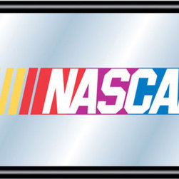 """Trademark Global - NASCAR Framed Logo Mirror - Reflect on the favorite memories of your favorite race with this officially licensed framed NASCAR logo mirror. Authentic artwork is preserved under mirrored glass then bound by a black wrapped wood frame. Post up your passion for the game while assisting your room's appearance with this professional grade logo mirror. Features: -Mirror. -Mirrored glass accents logo. -1.25"""" Black wrapped wood frame. -Includes mounted saw tooth hanger. -Officially licensed full color logo artwork. -Dimensions: 15"""" H x 26"""" W x 2"""" D."""