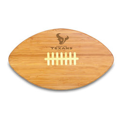 """Picnic Time - Houston Texans Touchdown Pro Cutting Board in Natural Wood - The Touchdown! cutting board is a 15"""" x 8.75"""" x 0.75"""" board made of eco-friendly bamboo with a standard football design, with 123 square inches of cutting surface. It can be used as a cutting board or serving tray, or use both sides of the board, one for cutting and the other for serving. The backside of the board is solid dark bamboo. Go long...for the Touchdown! Decoration: Engraved"""