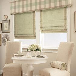 Draperies, Fabric Shades, Valances, Bedding & More - Custom Flat Roman Shades, Cornice & Pillows