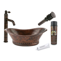 Premier Copper Products - Bath Tub Vessel Copper Sink w/ ORB Faucet - PACKAGE INCLUDES: