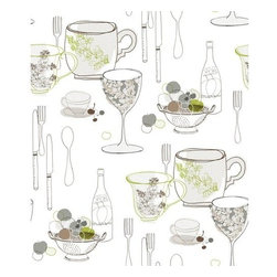 """York Wallcoverings - York Wallcoverings KB8577 Graphic Tableware Wallpaper - """"Art for your walls"""" best describes this standup modern graphic depicting a bevy of household kitchen implements, dinnerware and fruit with wine. Basic shapes and outline forms soften the bold use of color on neutral and white grounds for this jazzy allover print. Pair this pattern with coordinate wallpaper KB8664-KB8669 for an accent look, or use alone for a bold design statement. One measure of good fun; a dash of retro revival; sprinkle in today�s color palette-Blend to taste!Features:Prepasted: Paste has already been applied to the back of the wallpaper and is activated with water.Washable: May occasionally be cleaned by sponging with soap and warm water. Great for living rooms and bedrooms.Strippable: Easy to remove. Can be pulled off your wall in one piece without any wetting treatments or steamers.Design Match: Straight - Pattern match starts over at the ceiling line and follows straight across the wallpaper panels.Packaged and sold as a double rollMade in the USASpecifications:Design Repeat: 24""""Double Roll Dimensions: 20.5 Inches x 33 Feet = 56 Square FeetLength: 396""""Width: 20.5"""""""