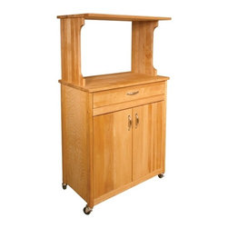 Catskill Craftsmen - Deluxe Microwave Cart - Features: -Material: Sustainably harvested domestic hardwood.-Place microwaves on cart top or rack top.-Drawer and cabinet storage.-Adjustable internal shelf.-Metal drawer glides.-Nickel plated towel bar.-Locking caster wheels.-Small size.-Made in the USA.-Adjustable shelf positions: 14.75''-17.25'' from bottom.-Oiled finish.-Distressed: No.-Country of Manufacture: United States.-Product Type: Kitchen Cart.-Collection: Microwave Cart.-Base Finish: Natural Wood.-Counter Finish: Natural Wood.-Hardware Finish: Nickel plated.-Powder Coated Finish: No.-Gloss Finish: No.-Base Material: Yellow Birch.-Counter Material: Yellow Birch.-Hardware Material: Nickel plated.-Solid Wood Construction: No.-Stain Resistant: No.-Warp Resistant: No.-Exterior Shelves: No.-Drawers Included: Yes -Number of Drawers: 1.-Push Through Drawer: No.-Drawer Glide Extension: Yes.-Dovetail Joints: No.-Drawer Dividers: No.-Drawer Handle Design: Pull.-Silverware Tray : No.-Number of Drawers: 1.-Push Through Drawer: No.-Drawer Glide Extension: Yes.-Dovetail Joints: No.-Drawer Dividers: No.-Drawer Handle Design: Pull.-Silverware Tray : No.-Number of Drawers: 1.-Push Through Drawer: No.-Drawer Glide Extension: Yes.-Dovetail Joints: No.-Drawer Dividers: No.-Drawer Handle Design: Pull.-Silverware Tray : No.-Number of Drawers: 1.-Push Through Drawer: No.-Drawer Glide Extension: Yes.-Dovetail Joints: No.-Drawer Dividers: No.-Drawer Handle Design: Pull.-Silverware Tray : No..-Cabinets Included: Yes -Number of Cabinets : 1.-Double Sided Cabinet: No.-Number of Interior Shelves: 2.-Adjustable Interior Shelves: Yes.-Number of Doors: 2.-Magnetic Door Catches: Yes.-Locking Doors: No.-Door Handle Design: Pull.-Number of Cabinets : 1.-Double Sided Cabinet: No.-Number of Interior Shelves: 2.-Adjustable Interior Shelves: Yes.-Number of Doors: 2.-Magnetic Door Catches: Yes.-Locking Doors: No.-Door Handle Design: Pull.-Number of Cabinets : 1.-Double Sided Cabinet: No.-Number of 