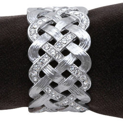 L'Objet - Napkin Rings (set of 4), Platinum, With Crystals - Handcrafted Brass Plated with 24 karat platinum with swarovski crystals in luxury gift box.  Set of 4. Clean with damp cloth.