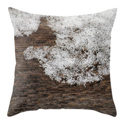 "BACK to BASICS - Snow Crystals on Wood Pillow Cover, 20x20 - Throw Pillow Cover made from 100% spun polyester poplin fabric, a stylish statement that will liven up any room. Individually cut and sewn by hand, the pillow cover measures 16"" x 16"", 18"" x 18"" or 20"" x 20"" depending on the size you choose, features a double-sided print and is finished with a concealed zipper for ease of care."