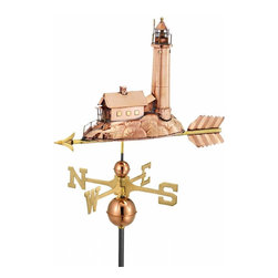 G.D. - Good Directions Lighthouse Weather Vane - Polished Copper - A picturesque sight off the New England shore, this classic coastal lighthouse is ready to point the way to the rooftop of your house, barn, garage, or cupola. Our Good Directions' artisans use Old World techniques to handcraft this fully functional, standard-size weathervane that's unsurpassed in style, quality and durability. A great gift for boating enthusiasts!