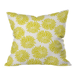 DENY Designs - Khristian A Howell High Society Throw Pillow, 26x26x7 - Don't toss this one. Whether your style is modern, cottage, country, traditional or eclectic, you'll want to hold this pillow tight. Large golden peonies burst against an ivory background printed front and back on woven polyester. The bright color and happy print will add cheerful softness to any sofa, bed or bench.