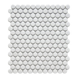 Somertile - SomerTile 9.875x11.5-in Victorian Penny 3/4-in Matte White Porcelain Mosaic Tile - Enhance the look of your kitchen or bathroom with this unique porcelain mosaic tile. Its matte white finish will complement any d_cor beautifully, and it will add a distinctly modern look to freshen the d_cor of the rooms that are most used in the home.