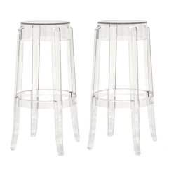 Baxton Studio - Baxton Studio Bettino Acrylic Bar Stools, Set of 2 - The silhouette-inspired design of this bar stool is a sure attention-grabber that coordinates with any color scheme. Constructed with transparent acrylic, this stunner includes non-marking feet that both help protect sensitive floors and stabilize the stool. This item will arrive fully assembled.