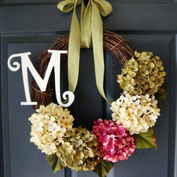 Hydrangea Monogram Wreath from HomeHearthGarden - A gorgeous natural grapevine wreath with a cream hydrangeas, rose pink hydrangeas, and green hydrangeas with personalized monogram letter and fine burlap bow. Great for entryway decor and weddings!