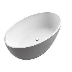 Arista - Pessaro 37 x 67 Artificial Stone Freestanding Soaker Bathtub with Center Drain - DESCRIPTION