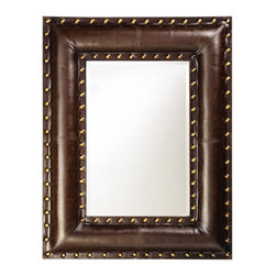 "Howard Elliott - Palermo Faux Padded Brown Leather - Upholstered with a dark brown faux leather, is paneled and saddle stitched to give the appearance of real leather. Bright gold leaf studs outline the rectangular frame for a striking Transitional look. Frame Dimensions: 35"" X 45"" X 2""; Mirror Dimensions: 20"" X 30""; Finish: Faux Padded Brown Leather; Material: Wood; Beveled: Yes; Shape: Rectangular; Weight: 42 lbs; Included: Brackets, Ready to Hang Vertically or Horizontally; Shipping: Free Shipping via FedEx 7 - 10 Business Days"