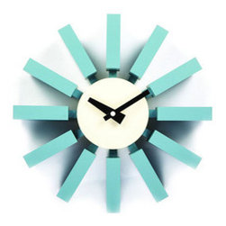 Blue Sky Block Clock - Brighten up your timekeeping with this retro blue wall clock. Based on a classic 1950s design, bright wood blocks extend from the clock face in rays to mark the hours and make a strong style statement on your wall.