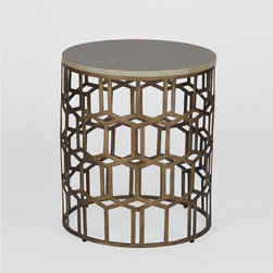 Carmen Table - This transtional round end table features a geometric brass colored diamond motif  on the base. The diamond pattern is also carried over to this ornate horn inlaid top. Diamonds are a girls best friend.