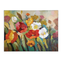 Grace Feyock - Grace Feyock Spring Has Sprung Transitional Wall Art / Wall Decor X-86243 - This vibrant burst of spring color has been hand painted on canvas. The canvas is then stretched and applied to wooden stretching bars. Due to the handcrafted nature of this artwork, each piece may have subtle differences.