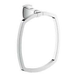 "Grohe - Grohe 40630000 Grandera Towel Ring, StarLight Chrome - Grohe 40630000 Grandera Towel Ring, StarLight Chrome The GROHE Grandera collection is both a homage to an age of grandeur long past and an affirmation of a modern sensibility, combining the highest standards of quality and craftsmanship with a love of detail and comfort. Stylistically, the Grandera collection can be combined with a wide range of bathroom furnishings, with the added flexibility of two colors - chrome and chrome/gold. Thanks to GROHE StarLight technology, not only will the fittings retain their shine in the long term but they are also extremely resistant to dirt and scratches. Grohe 40630000 Grandera Towel Ring, StarLight Chrome Features: 1-hole installation Wall mount type Brass construction Chrome finish Grohe 40630000 Grandera Towel Ring, StarLight Chrome Specifications: Product Weight: 1.37 lbs Product Length: 2.28"" Product Width: 7.04"" Product Height: 7.64"""