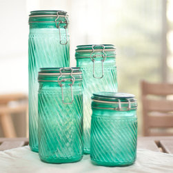 Teal Canisters by Sun Porch Studio, Set of 4 - These bright canisters provide a nice dose of color and remind me of the sea.