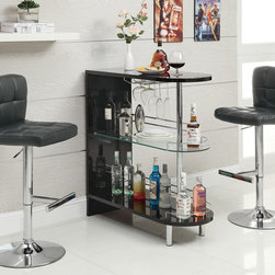 Contemporary Server Bar Table - This Server Bar Table will allow you to embody the most desirable goals in design interior. It contains tempered glass shelf with glass storage and gallery side rails.
