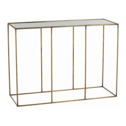 Arteriors Home - Arteriors Home Othello Iron/Mirror Console Table - Arteriors Home 6797 - Arteriors Home 6797 - Iron console table with slender vertical supports in an antique brass finish and topped with antiqued top.