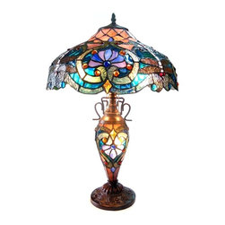 "Chloe Lighting - LYDIA Tiffany-style Victorian 3 Light Double Lit Table Lamp 17"" Shade - LYDIA, a Victorian double lit table lamp is handcrafted with pure stained glass, with gem tone, soft pedestals, as well as the Victorian motif.  The warm color glow of the stained glass will create warmth to your home.  With this table lamp you can make a soft romantic glow by using just the mid-section."