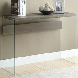 Monarch - Dark Taupe Reclaimed-Look/Tempered Glass Sofa Table - Enhance the look of your home with this dark taupe reclaimed sofa console with thick tempered glass sides. A gorgeous wood look with a touch of class.