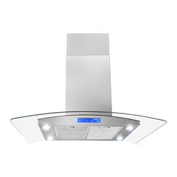 None - 36-inch Modern Style Stainless Steel Island Mount Range Hood - Featuring an elegant European curved glass design,this island mount range hood is both beautiful and functional.