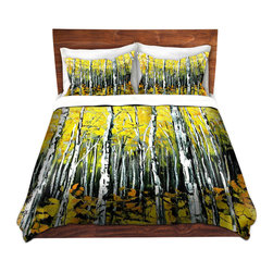 DiaNoche Designs - Duvet Cover Microfiber - Fall Aspens - DiaNoche Designs works with artists from around the world to bring unique, artistic products to decorate all aspects of your home.  Super lightweight and extremely soft Premium Microfiber Duvet Cover (only) in sizes Twin, Queen, King.  Shams NOT included.  This duvet is designed to wash upon arrival for maximum softness.   Each duvet starts by looming the fabric and cutting to the size ordered.  The Image is printed and your Duvet Cover is meticulously sewn together with ties in each corner and a hidden zip closure.  All in the USA!!  Poly microfiber top and underside.  Dye Sublimation printing permanently adheres the ink to the material for long life and durability.  Machine Washable cold with light detergent and dry on low.  Product may vary slightly from image.  Shams not included.