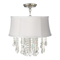 """Vienna Full Spectrum - Traditional Nicolli Clear 16"""" Wide White Shade Crystal Ceiling Light - The Nicolli Clear semi-flushmount ceiling light features clear crystal elements and a chrome finish frame. The four-light design offers the timeless look of a chandelier and is updated with a stylish designer white faux silk shantung fabric shade. A wonderfully refreshing designer look for your living space.  Chrome finish frame and canopy. White faux silk shantung fabric shade. Clear crystal. Semi-flushmount ceiling light. Takes four 60 watt candelabra bulbs (not included). 19"""" high. Chandelier only is 12"""" wide 10"""" high. Shade is 14"""" across the top 16"""" across the bottom 7"""" high. Canopy is 5"""" wide. Some assembly required; instructions included.  Chrome finish frame and canopy.  White faux silk shantung fabric shade.  Clear crystal.  Semi-flushmount ceiling light.  From the Vienna Full Spectrum crystal lighting collection.  Takes four 60 watt candelabra bulbs (not included).  19"""" high.  Chandelier only is 12"""" wide 10"""" high.  Shade is 14"""" across the top 16"""" across the bottom 7"""" high.  Canopy is 5"""" wide.  Some assembly required; instructions included."""