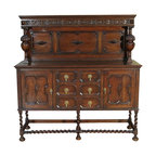 Antiques - Antique Solid Oak W/ Barley Twist Sideboard Server Buffet - Origin: England