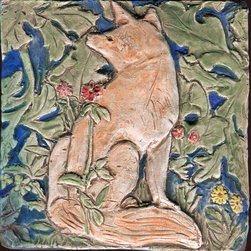 """William Morris Fox - This handmade porcelain tile was inspired by the Forest Tapestry by William Morris created in 1887.  This tile is 4 x 4""""."""