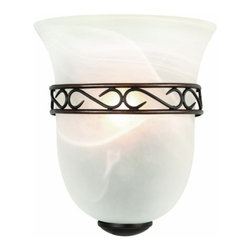DHI-Corp - Marlowe 1-Light Wall Sconce, Oil Rubbed Bronze - The Design House 514596 Marlowe 1-Light Wall Sconce is constructed of formed steel with an oil rubbed finish and alabaster glass to provide a soft, warm glow. Measuring 9.25-inches (H) by 8-inches (W), this 2.53-pound sconce features a detailed steel trim to add elegance in a bathroom, kitchen or entry way. This sconce's petite design mounts seamlessly to the wall without a chain or visible wires. This fixture uses (1) 60-watt candelabra base incandescent bulb. This wall mount is UL listed, cUL listed, ADA compliant and suited for damp areas. The Design House 514596 Marlowe 1-Light Wall Sconce comes with a 10-year limited warranty to the original purchaser to be free from defect in materials and workmanship. Design House offers products in multiple home decor Categories including lighting, ceiling fans, hardware and plumbing products. With years of hands-on experience, Design House understands every aspect of the home decor industry, and devotes itself to providing quality products across the home decor spectrum. Providing value to their customers, Design House uses industry leading merchandising solutions and innovative programs. Design House is committed to providing high quality products for your home improvement projects.