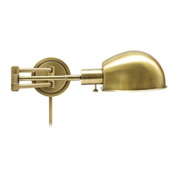 House of Troy Addison Antique Brass Swing Arm Wall Lamp - Design Star winner Emily Henderson recently incorporated a pair of these brass swing arms into her new office, but they've been on my radar for some time. I'd put them on either side of a nailhead-trimmed headboard against a dark, moody wall in a master bedroom — maybe mine?