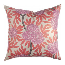 Berry Fleur Chinoise Pillow - Orange + pink = chinoiserie chic!