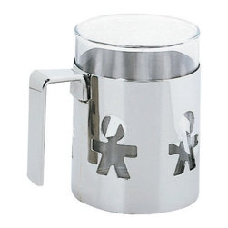 "Alessi - Alessi ""Girotondo"" Mug - Your latest selfie isn't the only cool mug around. This one features a holder made of high grade, mirror-polished stainless steel. It's ringed with cutouts of little people to show off what's inside the heatproof glass tumbler. Go ahead. Click away."