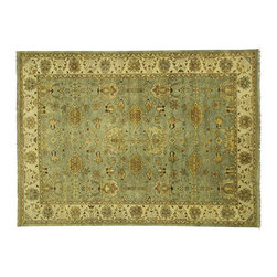 Manhattan Rugs - New Antiqued Hand Knotted Floral Oushak 10x14 Blue/Ivory Turkish Wool Rug H3501 - This is a true hand knotted oriental rug. it is not hand tufted with backing, not hooked or machine made. our entire inventory is made of hand knotted rugs. (all we do is hand knotted)