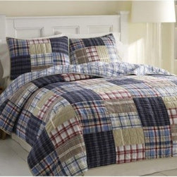 Nautica Chatham Cotton Quilt Bedding Set - Quilted comfort. The Nautica Chatham Quilt Bedding Set is a colorful, quilted patchwork plaid sure to cozy up any bedroom. This quilt set has a casual and colorful patchwork plaid design that's the perfect amount of masculine and feminine. Choose just the quilt or add on one or two quilted, matching pillow shams (sold separately) for a whole new look in the bedroom. The set is made of 100% quilted cotton to be ultra comfy year round and machine-washable.