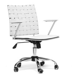 """Wholesale Interiors - Vittoria White Leather Modern Office Chair - Add stylish seating to your home office furniture or use our Vittoria Modern Office Chair as the perfect leather office chair for your business. Durable eggshell white bonded leather on the seat is smooth and is accented with matching stitching. Conversely, the leather on the backrest is intricately woven. Light foam padding adds additional comfort. The dependable steel frame is beautifully finished with high-shine chrome plating and tipped with five black caster wheels. The Vittoria Office chair swivels 360 degrees and features an adjustable seat height with tilt control. Additionally, the handsome chair requires assembly and is made in China. To clean, wipe with a damp cloth. Also available in black and matching counter height and bar stools in brown or black (each sold separately). Product dimension: 23.625""""W x 19""""D x (32""""-36"""")H, seat dimension: 19.375""""W x 17""""D x (16.5""""-20"""")H with arm height 8.25"""" from the seat."""